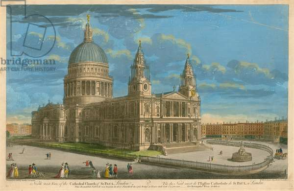 North west view of the Cathedral Church of St Paul, London (coloured engraving)