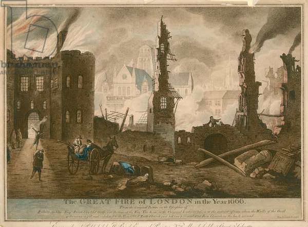 The Great Fire of London in the year 1666 (coloured engraving)