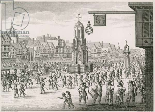 A North East view of Cheapside with The Cross and Conduit (engraving)