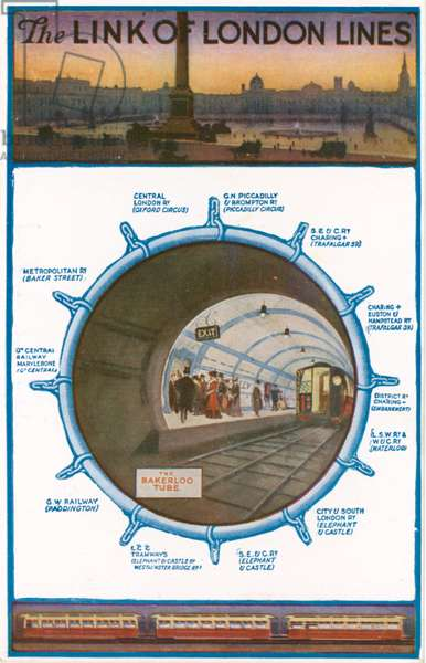 The link of London lines; London underground (colour litho)