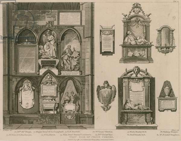 West side of Poets Corner, Westminster Abbey, London (engraving)