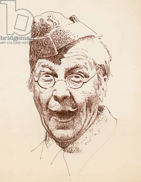 The actor Clive Dunn as Lance Corporal Jack Jones in the BBC television sitcom Dad's Army (ink on paper)