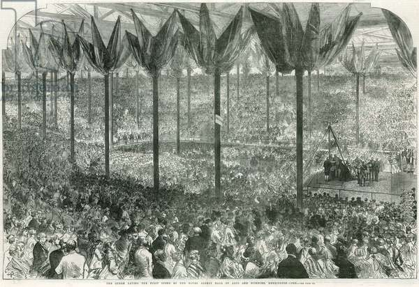 Queen Victoria laying the first stone of the Royal Albert Hall (engraving)