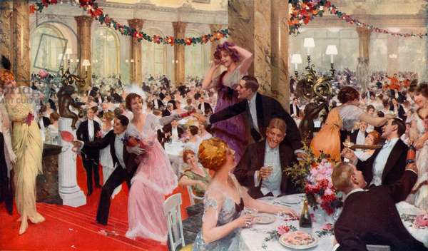 New Year's Eve Festivities at the Savoy (colour litho)