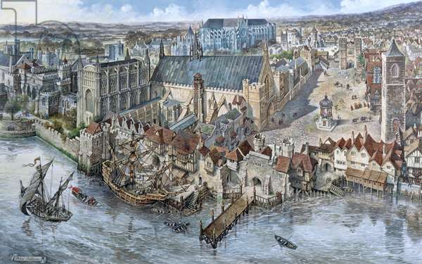 Old London Reconstructed: The Palace of Westminster about 1530 (gouache on paper)