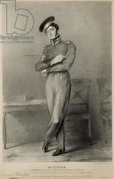Tyrone Power, actor, as Corporal O'Connor in the opera of Broken Promises (engraving)