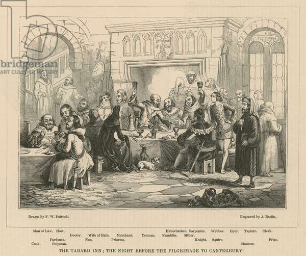 The Tabard Inn, the night before the pilgrimage to Canterbury (engraving)