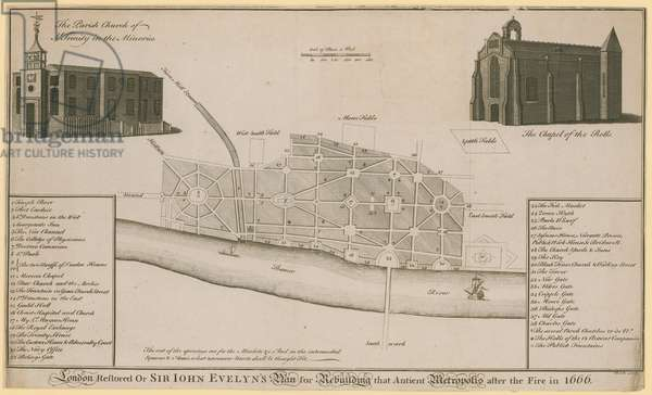 London restored, or Sir John Evelyn's plan for rebuilding that ancient metropolis after the fire in 1666 (engraving)