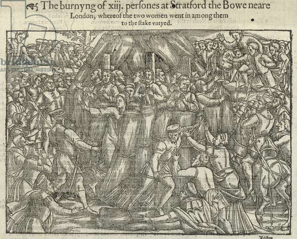 The burning of thirteen persons at Stratford le Bow (engraving)