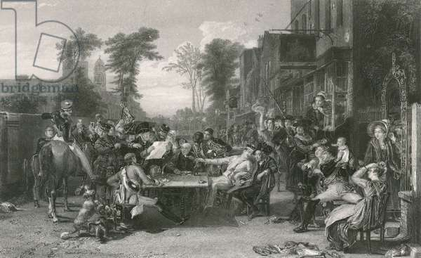 Chelsea pensioners reading the gazette of the Battle of Waterloo (engraving)