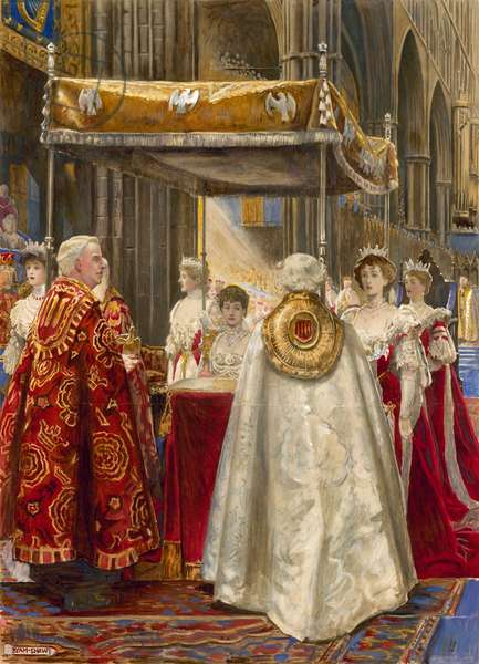 Coronation of King Edward VII and Queen Alexandra, 1904 (w/c on paper)