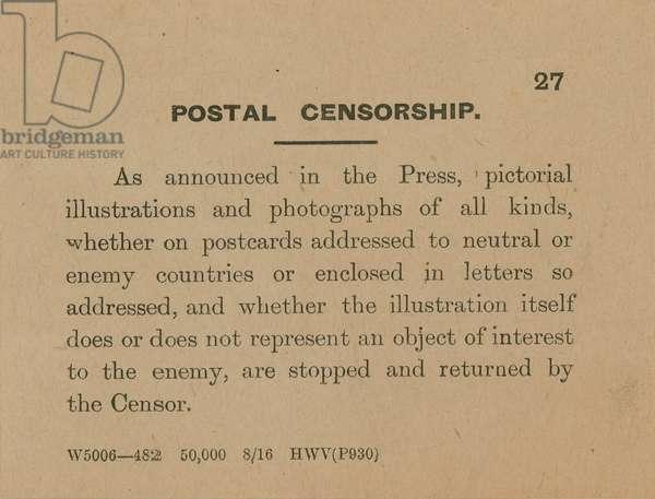 Postal Censorship (engraving)