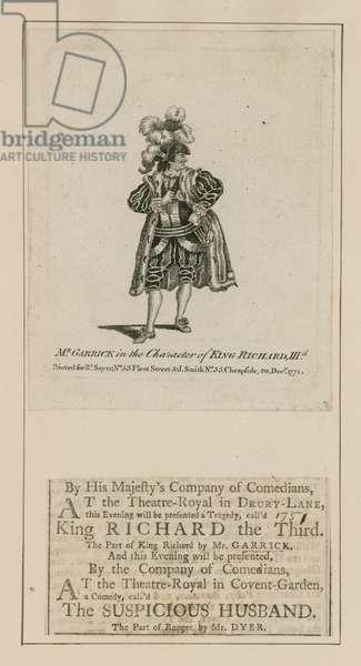 David Garrick in the character of King Richard III (engraving)
