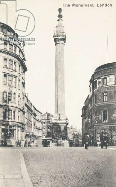 Monument to the Great Fire of London (b/w photo)