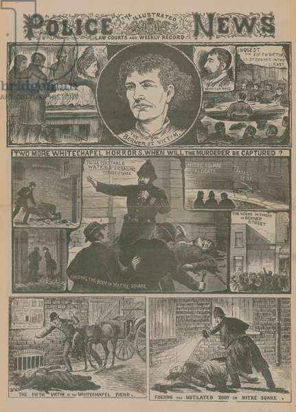 Jack the Ripper: Two more Whitechapel horrors - when will the murderer be captured? (engraving)
