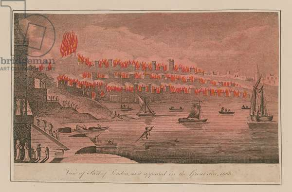 View of part of London as it appeared in the Great Fire, 1666 (coloured engraving)