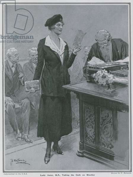 Lady Nancy Astor: Lady Astor, MP, taking the oath (litho)