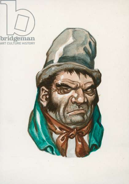 Bill Sikes, Oliver Twist (gouache on paper)