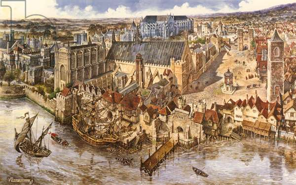 Birdseye view of Westminster (gouache on paper)