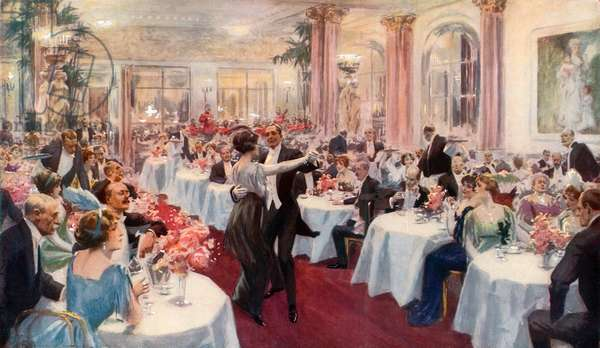 Supper Scene at the Savoy (colour litho)