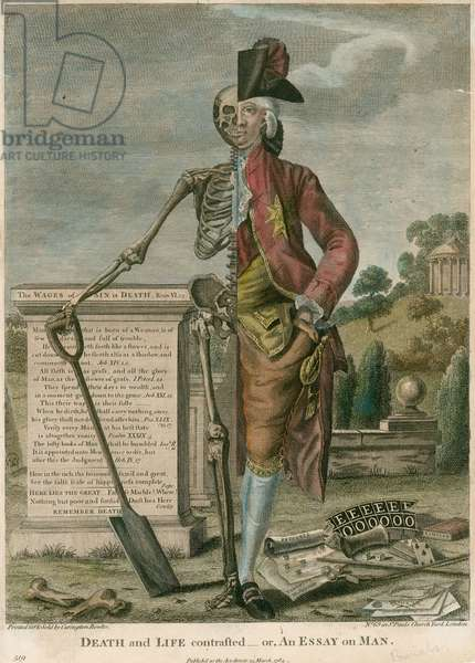 Death and life contrasted, or, An Essay on Man (coloured engraving)