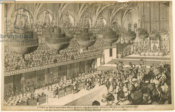 A view of Westminster Hall during the banquet given in honor of the Coronation of King George IV (engraving)