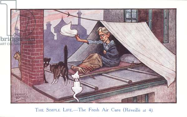 The Simple Life - the Fresh Air Cure (Reveille at 4) (colour litho)