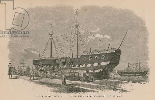 The 'Warrior' hulk with the 'Sulphur' washing ship in the distance (engraving)