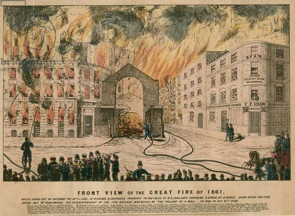 Front View of the Great Fire of 1861 (coloured engraving)