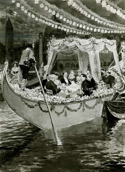 Gondola dinner at the Savoy in 1905 (litho)