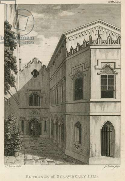 Entrance to Strawberry Hill, London (engraving)