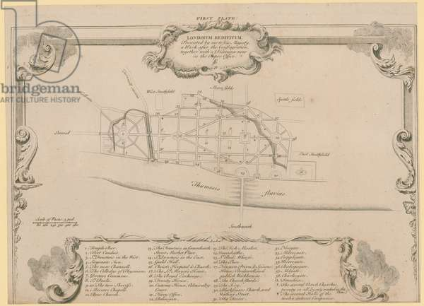 London restored, Sir John Evelyn's plan for rebuilding the City of London following the fire of 1666 (engraving)