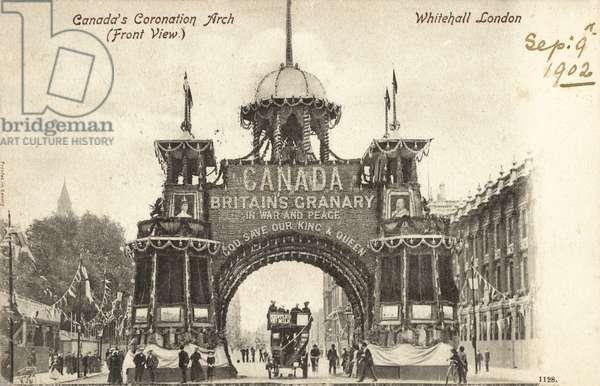 Canada's Coronation Arch, Whitehall, London, 1902 (b/w photo)