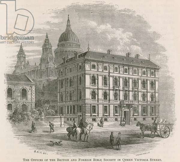 The offices of the British and Foreign Bible Society in Queen Victoria Street, London (engraving)