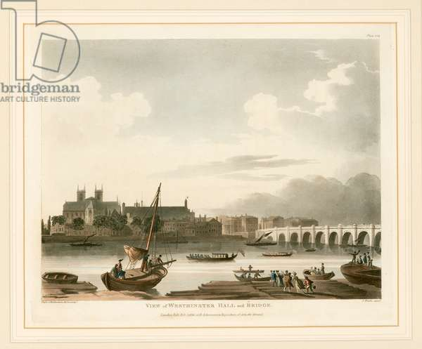 View of Westminster Hall and Bridge (coloured engraving)