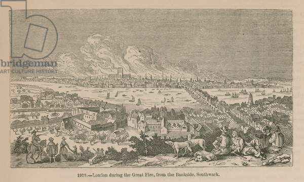 London during the Great Fire, from the Bankside, Southwark (engraving)