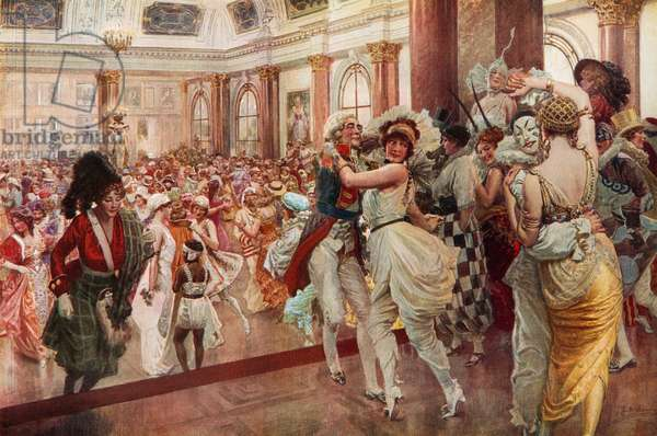 """The famous """"Midnight Ball"""" at the Savoy (colour litho)"""