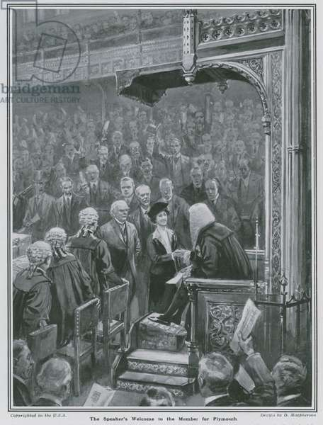 Lady Nancy Astor: The Speaker's welcome to the Member for Plymouth (litho)