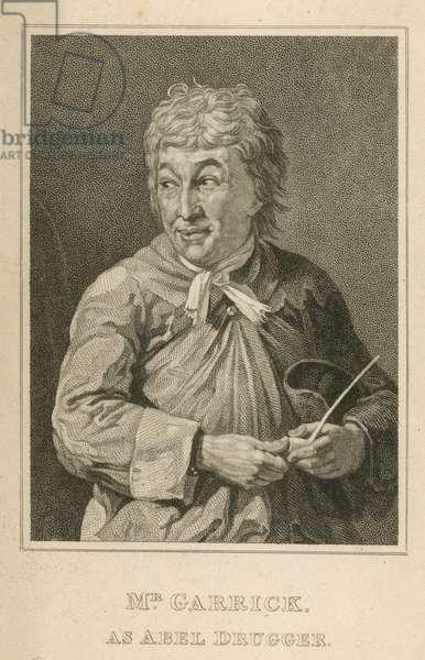 David Garrick, actor, as Abel Drugger (engraving)