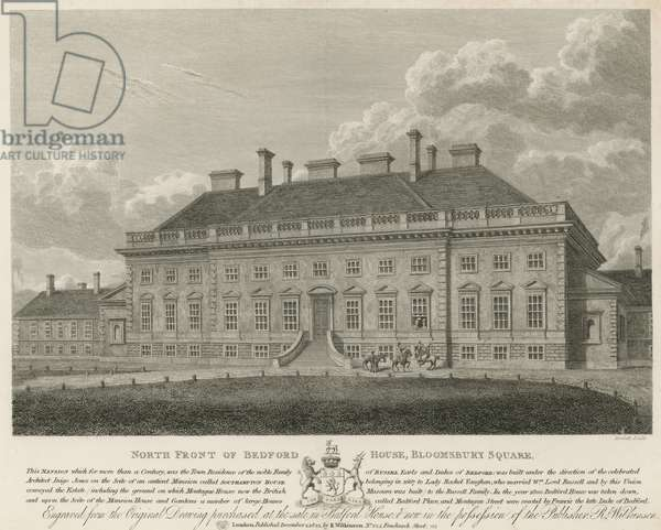 North front of Bedford House, Bloomsbury Square, London (engraving)