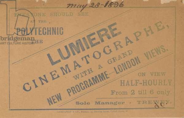 Leaflet advertsing Lumiere Cinematograph (engraving)