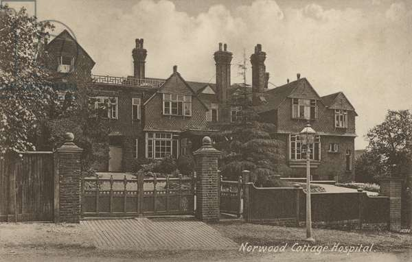 Norwood Cottage Hospital, near London (b/w photo)