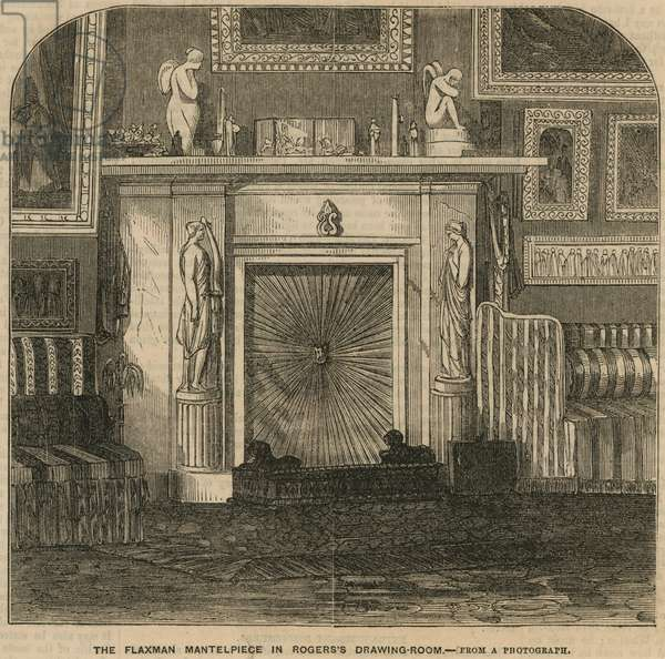 The Flaxman Mantelpiece in Rogers the Poet's drawing room, Rogers's House, St James's Place (engraving)