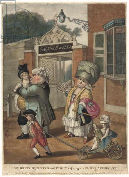 Bagnigge Wells.  Mr Deputy Dumpling and Family enjoying a summer afternoon. (coloured engraving)