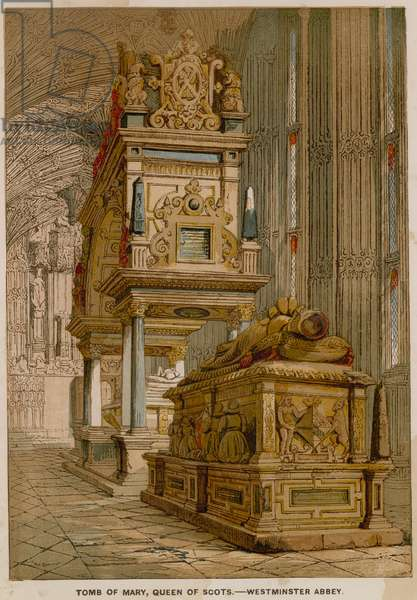 Tomb of Mary Queen of Scots, in Westminster Abbey (coloured engraving)