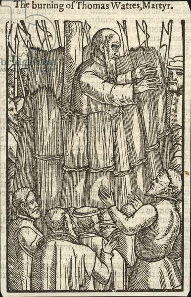 The burning of Thomas Wattes, Martyr (engraving)