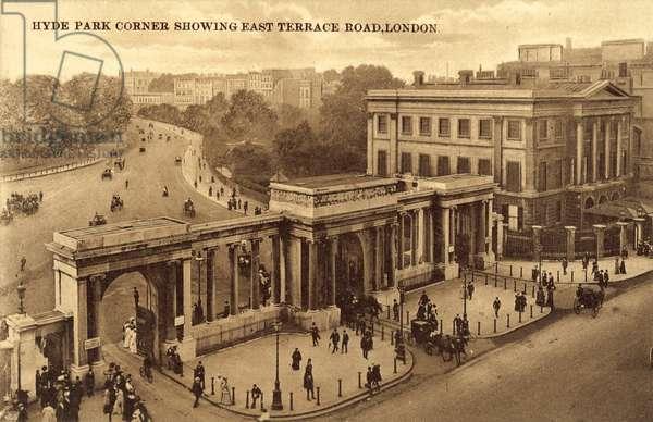 Hyde Park Corner, London, showing East Terrace Road (b/w photo)