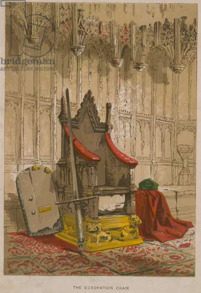 The Stone of Scone in the Coronation Chair (coloured engraving)