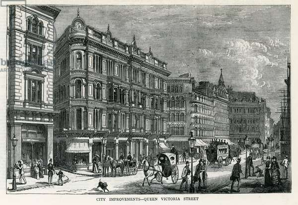 City improvements - Queen Victoria Street, London (engraving)