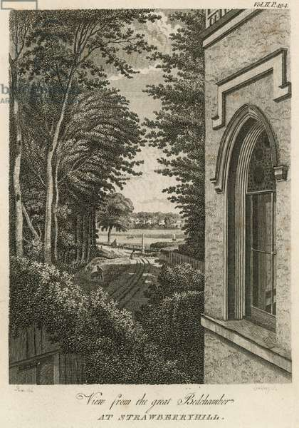 View from the great Bedchamber at Strawberry Hill, London (engraving)